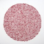 Swirl and Sphere, Red Papercut