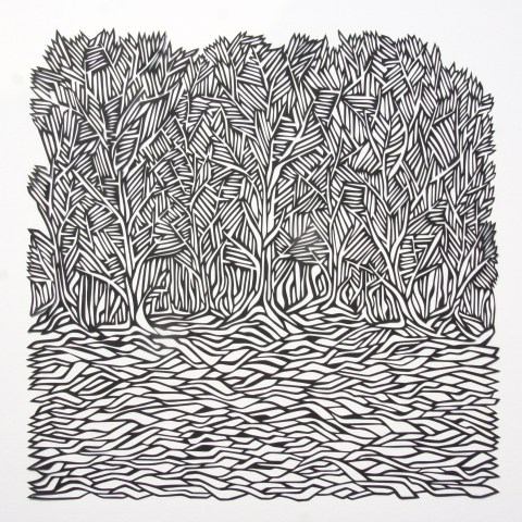 Woods, Black Papercut