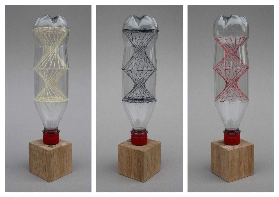 Vessels, PET bottles and embroidery thread, 2017